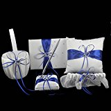 OurWarm 1 Wedding Guest Book + 1 Pen Set + 1 Flower Girl Basket + 1 Ring Bearer Pillow + 1 Garter , White Cover , Decor w/ Royal Blue/Deep Blue Ribbon Bowknot, Double Heart Diamante Crystal Rhinestone Buckle, Rustic,Elegant Wedding Ceremony Party Favor