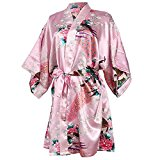 Women's Night Gown Peacock and Blossoms Kimono Satin Robe Short Style Nightwear (Pink, Large)