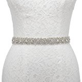 Remedios Handmade Dazzling Rhinestone Wedding Party Prom Sash Bridal Belt For Women,White