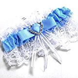 Bride Boutique Wedding Hen Party Bride To Be Satin & Lace Bridal Garter - Blue