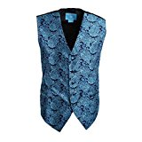 EGC1B06B-3XL Dark Turquoise Patterned Fitness For Bridegrooms Waistcoat Woven Microfiber MensVests For Meeting XXX-Large Vest By Epoint