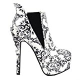 Show Story Elegant Black And White China Platform High Heel Stiletto Ankle Boots,LF80843BK39,6UK,Black
