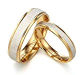 Valentine's Day Free Engrave Groom & Bride 18K Yellow Gold Filled Matching Anniversary Wedding Couple Ring, Valentine's Day Gifts UK Size H to Z6
