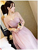 ThinkMax Wedding Bridesmaid Dresses Long Evening Prom Gown Pale Mauve B S