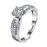 Eternity Love Women Wedding Engagement Rings 18K Gold Plated Cz Diamonds Bands Solitaire Princess Cut Promise Anniversary Bridal Jewelry Infinity Love for Her, 6