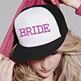 Black / Pink Bride Baseball Hat Crystal Bridal Wedding Party Trucker Cap