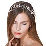 Bridal Vintage Crystal Pearl Vine Hairbands Wedding Hair Accessories (Gold-tone)