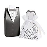 Hxhome 100pcs Bride And Groom Wedding Favour Boxes (50pcs Bride & 50pcs Groom)