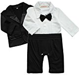 iiniim 2pcs Baby Boys Outfits Clothes Wedding Gentleman Jumpsuit Bow Tie Romper + Suit Coat Costumes Sets Black White 0-3 Months