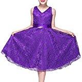 LA JINIRR Flower Girls V-Neck Lace Wedding Party Bridesmaid Princess Dress Purple Age 13-14 Years