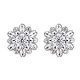Mu & Nin End of line clearance. Dazzling Rhodium Plated 925 Sterling Silver Round Cut Flawless Snowflake stud earrings expertly made with Starlight Cubic Zirconia crystal for women,luxury box