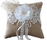 Eyekepper Burlap Lace Wedding Ring Pillow with Flower