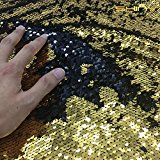 Gold-Black Sequin Fabric by the Yard-Mermaid Fish Scale Sequin Fabric Flip Up Two Way Stretch Spandex Fabric for DIY Bridal Gown Prom Evening Dress Custume, Magic Sequin Pillow Case, Cushion Cover