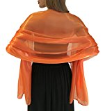 Silky Iridescent Wrap Stole Shawl For Weddings Bridal Bridemaids Evening Wear Prom & Parties - 23 Beautiful Colours (Orange)