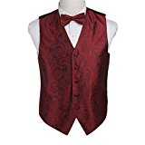 EGE1B01C-L Red Perfect Fashion Patterns Microfiber Waistcoat and Pre-tied Bow Tie Romance For Wedding By Epoint