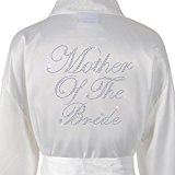 Ivory Mother Of The Bride Satin Rhinestone Bathrobe Personalised Diamante Dressing gown Kimono