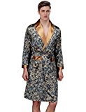 Waymoda Men's Luxury Silky Satin Evening Dressing Gown, Male Classic Elegant Paisley Pattern Kimono Wrap Robe, Dark Blue Colors, 3 Sizes Optional - Long style