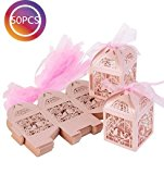 TankerStreet 50pcs Candy Box Hollow Out Flowers Roses Birds with Ribbons Gift Box Bag Bridal Shower Wedding Birthday Party Supplies Favors (Pink)