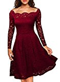 MIUSOL Women's Vintage Floral Lace Long Sleeve Boat Neck Cocktail Formal Swing Red Dress X-Large/UK 14