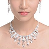 Sparkly Rhinestone Beaded Choker Necklace Earrings Wedding Jewelry Sets Style E