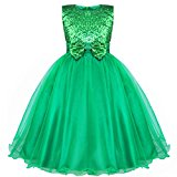 YiZYiF Girls Flower Sequined Dress Sleeveless Formal Party Wedding Bridesmaid Christening Dresses Green 13-14 Years