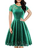OWIN Women's Retro Floral Lace Cap Sleeve Vintage Swing Bridesmaid Dress (S, Green)