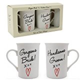 GORGEOUS BRIDE HANDSOME GROOM COFFEE MUG TEA GIFT SET WEDDING ANNIVERSARY NEW