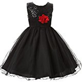 M2C Little Girls Sequin Flower Wedding Dress Ball Gown Party Girl Dresses(Black)