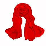 Summer Solid Scarfs Stoles for Women Red Silk Lightweight Shawls and Wraps Cotton for Evening Dresses