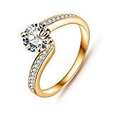 Vycloud(TM) Fashionable Bride Rings Real Platinum/18K Gold Plated AAA Cubic Zirconia Inlayed Wedding Ring CRI0023