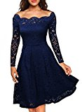 MIUSOL Women's Vintage Floral Lace Long Sleeve Boat Neck Cocktail Formal Swing Blue Dress X-Large/UK 14