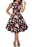BlackButterfly 'Audrey' Divinity Vintage Rockabilly Floral 1950s Dress (Black, UK 20)