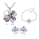 ZIZI Amethyst Lilac ~ 18K White Gold Plated ~ Love Heart Lucky Four Leaf Clover ~ Swarovski Crystal Elements ~ Necklace, Earrings & Bracelet ~ ZiZi Gift Box
