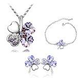 ZIZI Amethyst Lilac ~ 18K White Gold Plated ~ Love Heart Lucky Four Leaf Clover ~ Swarovski Crystal Elements ~ Necklace, Earrings & Bracelet ~ ZiZi Gift Box