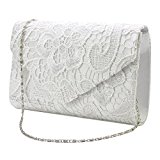 Wocharm (TM) Ladies Lace Envelope Clutch Bag Evening Bag Bridal Wedding Bag Handbag Prom Bag (Ivory)