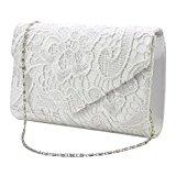 Wocharm (TM) Ladies Lace Envelope Clutch Bag Evening Bag Bridal Wedding Bag Handbag Prom Bag (Ivory)
