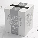 Vintage Romance Wedding Heart Card Post Box in White & Silver by Neviti