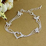 Silver Plated Crystal Ankle Chain Anklet Bracelet 1Pcs for Bride Wedding Party