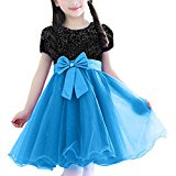 Dress Girls, Round Neck Short Sleeve Lace Cocktail Dress Pageant Cloth Bow Tie Belt Multi-layers Wedding Bridesmaid Party Costume for Children/Kids Girls 5-8 Years, Black&Blue, 7-8Years:140cm