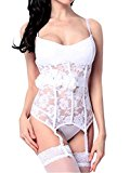 Amoretu Sexy Women Lingerie Lace Basque Underwear Corset with Garter Belt White Bustier