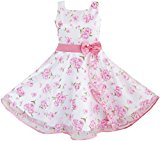 3 Layers Girls Dress Pink Flower Wave Pageant Wedding Size 4-5 Years
