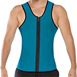 Fletion Men's Athletic Outdoor Sport Ultra Sweat Fitness Tight Reversible Vest Neoprene Cincher Waist Trainer Girdle Corset Tank Top Shapewear Slimmer Waistcoat Exercise Slimming Body Shaper Bodysuit