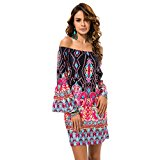 OverDose Women Ethnic Strapless Off-Shoulder Polyester Pagoda Long Sleeve Beach Mini Dress