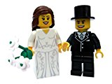 Bride BROWN hair with beautiful dress and groom - Minifigure for Wedding Cake Topper, Table Decoration or favours - Very collectible minifigures (my ref 7 BG)