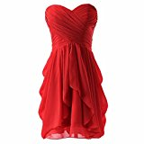Women Evening Formal Gown Party Prom Ball Short Wedding Bridesmaid Dress Red XL