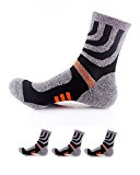Waymoda 3 Pairs Unisex Sports Socks, Quick Drying, Breathable, Elastic Compression Strip and Non Slip buffer Liner, Outdoor Running Hiking Camping Trekking Athletic Crew Sox, Men Women UK 3-8/EUR 36-41