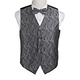 EGE1B02D-L Grey Black Paisley Microfiber Waistcoat and Pre-tied Bow Tie Creative Gentlemen By Epoint