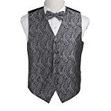 EGE1B02D-L Grey Black Paisley Microfiber Waistcoat and Pre-tied Bow Tie Creative Gentlemen By Epoint