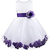 Girl Flowers Petal Sleeveless Wedding Formal Kid Princess Bridesmaid Party Dress 2-14 Years Purple 5 Years