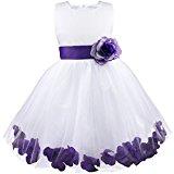 Girl Flowers Petal Sleeveless Wedding Formal Kid Princess Bridesmaid Party Dress 2-14 Years Purple 5 Years